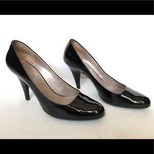 Salvatore Ferragamo Black Patent Nepals Heels